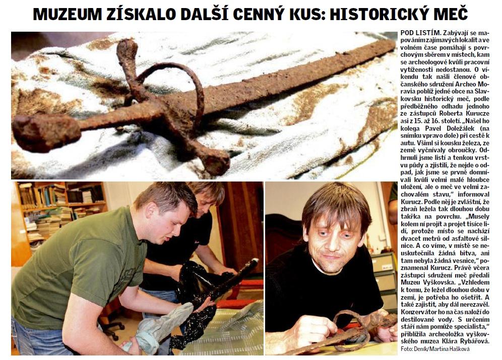 pdf Muzeum získalo meč z 16. století